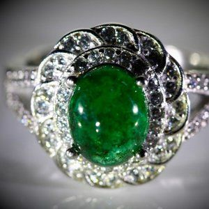 Zambian Emerald 2.44ct Platinum Solid Silver Ring